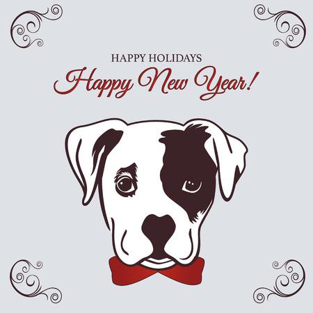 中国の旧正月2018かわいい犬と2018年の干支のシンボルとのお祝いベクトルカードのデザイン。中国暦のベクターイラスト。新年のデザインのためのベ  イラスト・ベクター素材