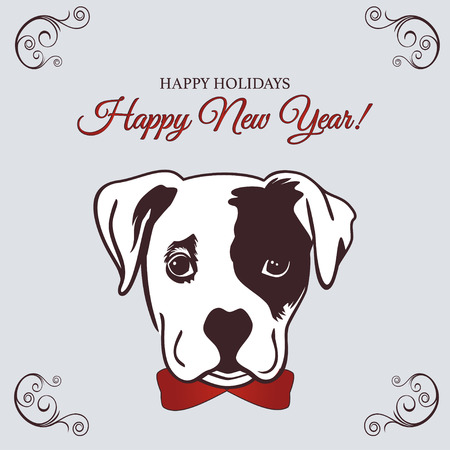 Chinese New Year 2018 festive vector card Design with cute dog, zodiac symbol of 2018 year. Vector illustration of Chinese calendar. Vector element for New Year s design. Vettoriali