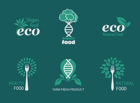 自然製品、健康食品、ファーム新鮮な食品、オーガニック、グルテン フリー。ベクトル環境、バイオ。完全菜食主義者、自然食品や飲み物の兆候。