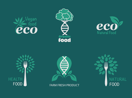 Natural product, healthy food, farm fresh food, organic product, gluten free. Vector eco, bio . Vegan, natural food and drinks signs. Farm market, store icons collection. Raw meal badges, labels Vettoriali