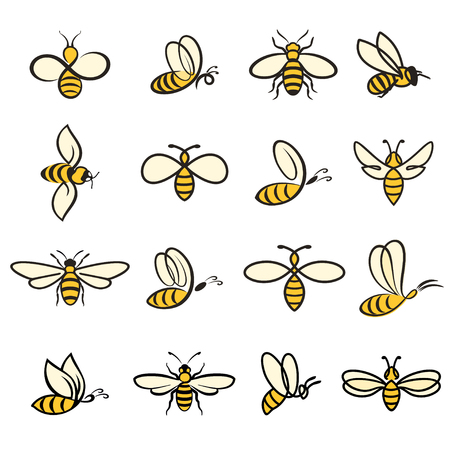 Bee Icons colored vector illustration on white background.