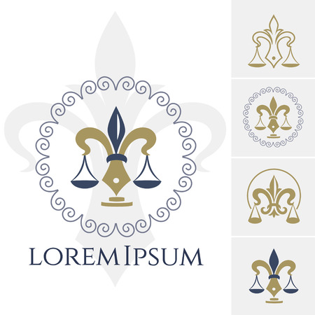 Legal or juridical center icon with Scales of Justice. Vector emblem for advocacy or notary company, law attorney, legal advocate or lawyer office. Vector isolated sign