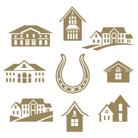 houses around horseshoe on white background vector illustration.