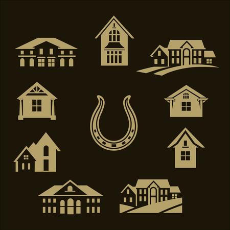 houses set around horseshoe on dark background, Vector illustration. Ilustrace
