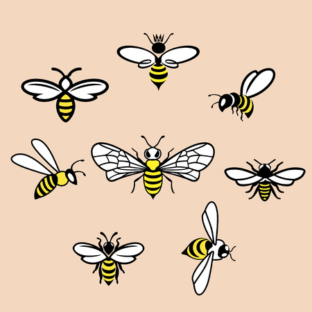Honeybees Icons set on pink background, Vector illustration. Ilustrace