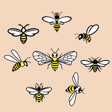 Honeybees Icons set on pink background, Vector illustration. Illustration