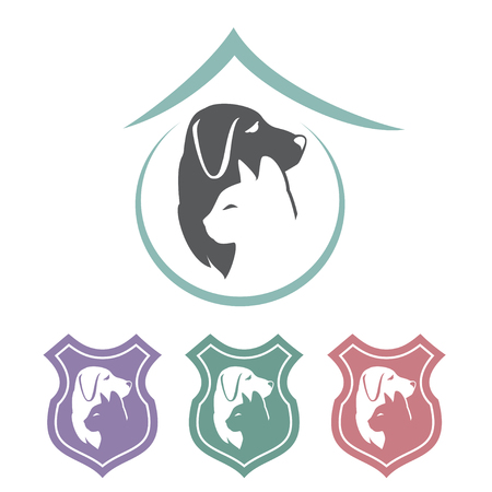 cat dog shield icons Vector illustration. 向量圖像