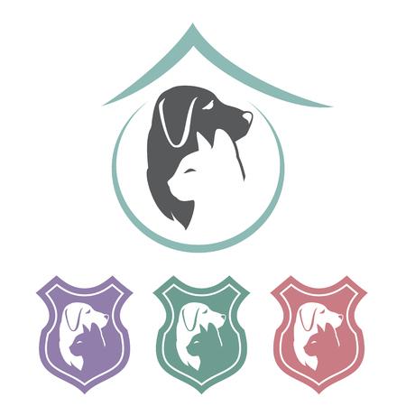 Icone di scudo cane gatto illustrazione vettoriale. Archivio Fotografico - 96616426