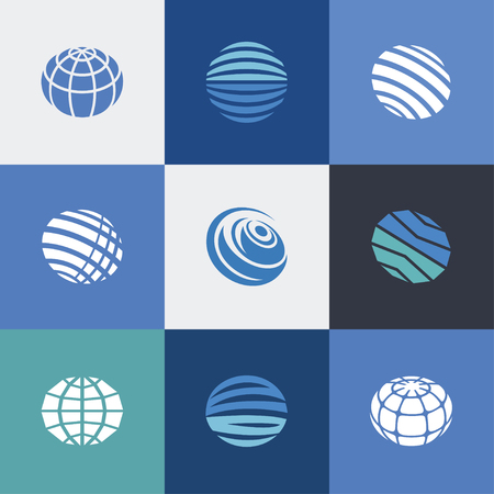 globe icons blue Vector illustration. 向量圖像