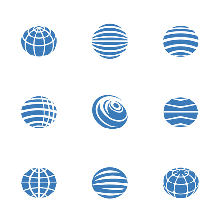 globe icons blue on white background, Vector illustration. 向量圖像