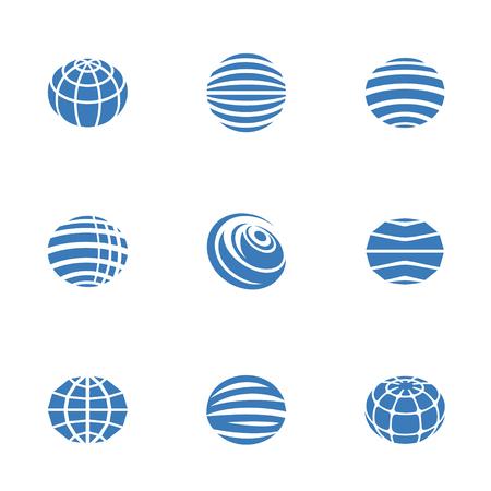Icone del globo blu su fondo bianco, illustrazione di vettore. Archivio Fotografico - 96637224