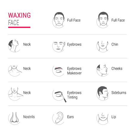 waxing face icons Vector illustration.