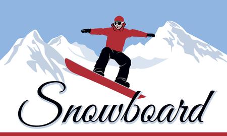Snowboard Illustrazione degli sport invernali logo vettoriale. Archivio Fotografico - 96637570