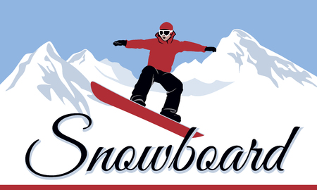snowboard  Winter sport logo  Vector illustration. 向量圖像