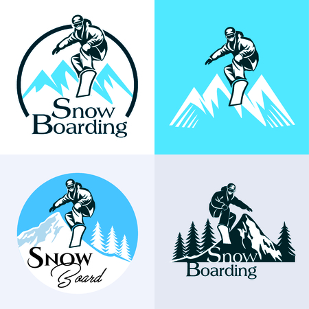 snowboarding Winter sport logo set vector illustration. 向量圖像