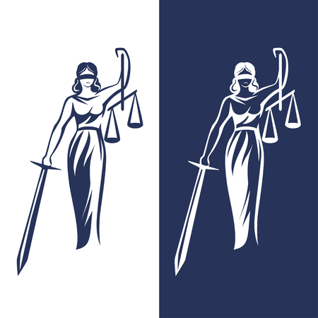 lady justice statue on light and dark background, Vector illustration. Stock Illustratie