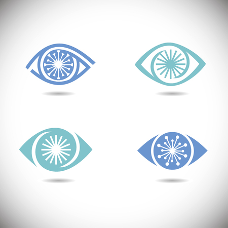 eye icons set Vector illustration. 向量圖像