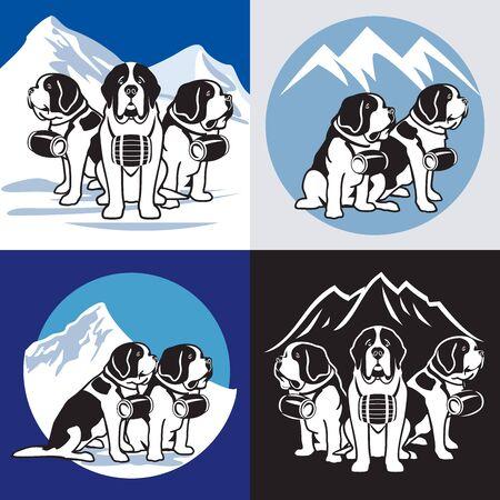 Saint Bernard - Dogs. Alpine rescue service vector illustration. Brave mountain rescuers. Standard-Bild - 131423813