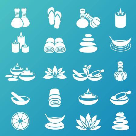 Spa icons white  イラスト・ベクター素材