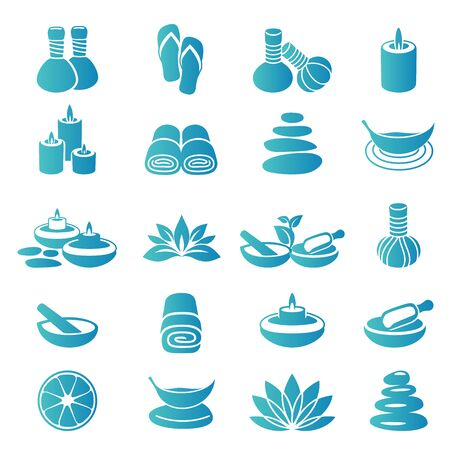 Spa icons coloured Иллюстрация