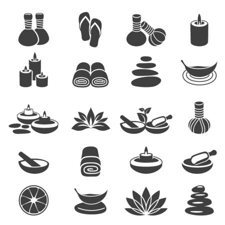 Simple Set of SPA Icons. Vector Illustration. Body Care & Cosmetics Services. Wellness Symbols Collection.