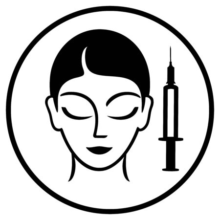 Cosmetic injections line icon. Vector flat illustration. Can be used for topics like rejuvenation, cosmetology, plastic surgery.