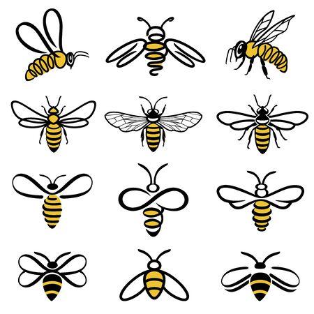 Insieme dell'ape del miele. Set di etichette per miele e api per prodotti a base di miele. Icona di insetto isolato. Ape volante. Insieme delle api grafiche moderne astratte su priorità bassa bianca. Illustrazione vettoriale di stile piano.