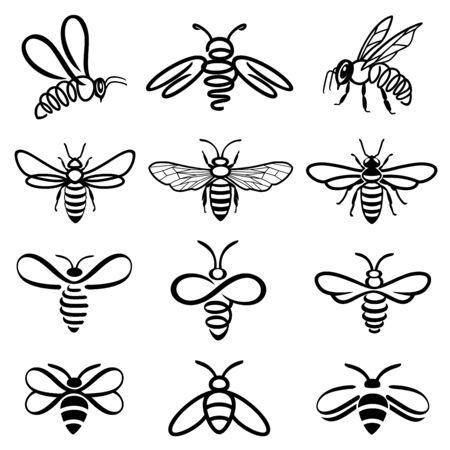 Insieme dell'ape del miele. Set di etichette per miele e api per prodotti con logo al miele. Icona di insetto isolato. Ape volante. Insieme delle api grafiche moderne astratte su priorità bassa bianca. Illustrazione di stile piatto. Logo