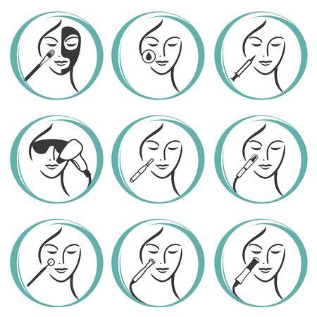 Facial Skin Treatment  イラスト・ベクター素材