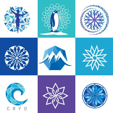 Vector  for cryotherapy. Concept for Spa freeze technology. Set of body cryotherapy Icons.