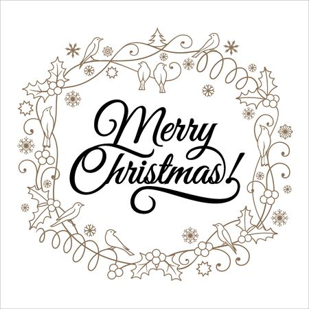 Merry Christmas, hand written lettering and Christmas ornaments on white background. Can be used  for greeting card, invitation, banner, Christmas card design and Xmas concept. Illustration.