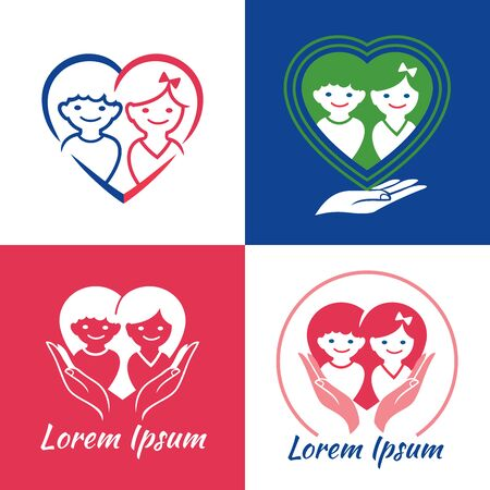Family care   design. Vector illustration of children boy and girl inside the heart shape. Can be used for Child Care, Medical Services and Early learning Centre for Children. Child freedom and active lifestyle. Love family. Child custody.