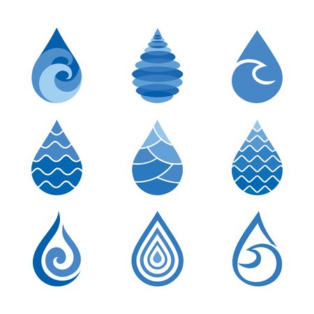Drops of water icons illustration Иллюстрация