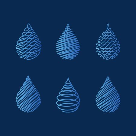Water drops. Set of modern vector icons   templates . Can be used for healthcare and ecology, care of environmental protection, hydro therapeutic, eco friendly water, SPA-center.