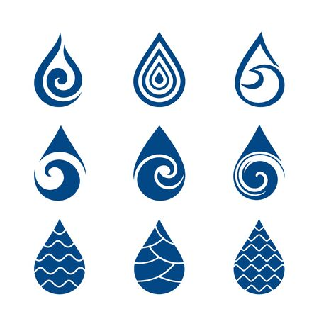 Water drops. Set of modern vector icons  templates on white background. Can be used for healthcare and ecology, care of environmental protection, hydro therapeutic, eco friendly water, SPA-center. Vector illustration