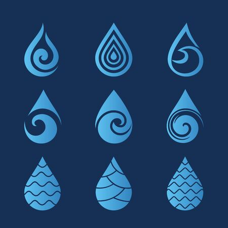 Water drops. Set of modern vector icons   templates. Can be used for healthcare and ecology, care of environmental protection, hydro therapeutic, eco friendly water, SPA-center.