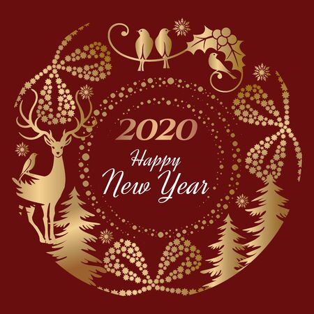 Vector festive illustration of a Happy New Year 2020 for greeting card, banner or winter holiday invitations on red background with gold color graphic design elements. Иллюстрация
