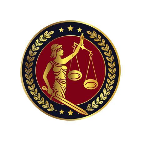 Vrouwe Justitia, Themis met zwaard en weegschaal. Wet op een eerlijk proces. Femida. Geblinddoekte dame. Logo of label voor advocatenkantoor. Vector illustratie.