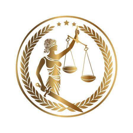Lady Justice, Themis, Femida mit Schwert und Waage. Logo- oder Emblemdesign für Anwaltskanzlei, Anwaltsservice, Anwaltskanzlei. Personifikation von Ordnung, Fairness, Recht, fairer Prozess, Regel, Satzung. Vektor-Illustration.