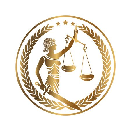Lady justice, Themis, Femida with sword and scales. Logo or emblem design for Law firm, Lawyer service, Law office. Personification of order, fairness, law, fair trial, rule, statute. Vector illustration.