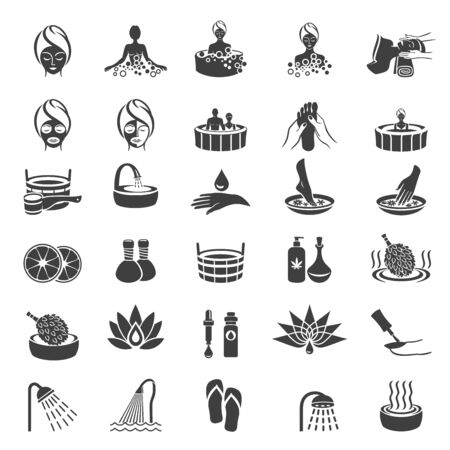 Simple Set of SPA Vector Icons. Body Care & Cosmetics Services. Wellness Symbols Collection on white background. Spa, beauty, sauna, steam bath and massage therapy web icons set. Health concept. Vector illustration.