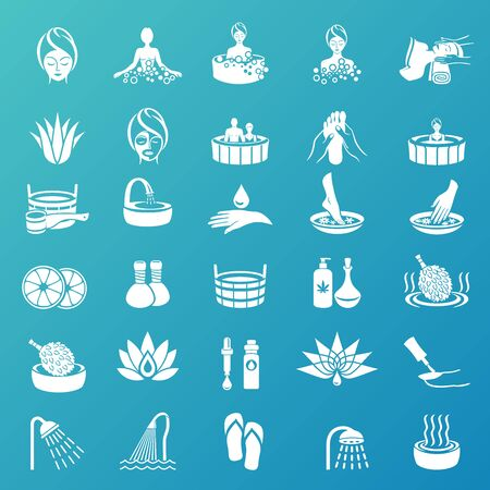 Spa & Beauty Icons set on turquoise background