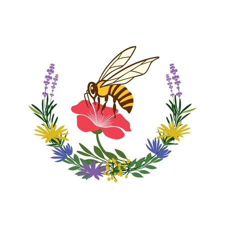 Bee logo or Honey label Banco de Imagens - 140688622
