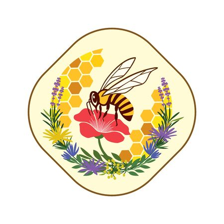 Logo, emblem, sticker for beekeeping, honey production, bee business, selling honey, the use of honey in cooking or in medicine. Honey bee that processes flower juices, nectar into honey. Vector illustration.