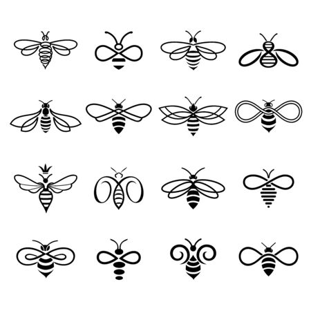 Honey bee design. Set of honey bees for labels  of honey products, natural and farm honey. Isolated insect icons. Flying bee. Creative design industrious bees. Vector illustration in flat linear style. Banco de Imagens - 141655333