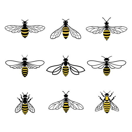 Honey bee design. Set of honey bees for labels  of honey products, natural and farm honey. Isolated insect icons. Flying bee. Creative design industrious bees. Vector illustration in flat linear style.