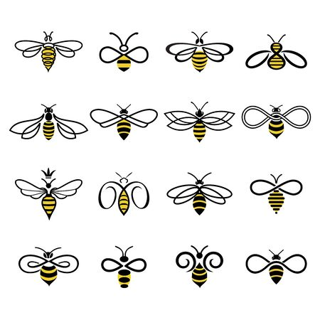 Honey bee design. Set of honey bees for labels  of honey products, natural and farm honey. Isolated insect icons. Flying bee. Creative design industrious bees. Vector illustration in flat linear style. Archivio Fotografico - 141655339