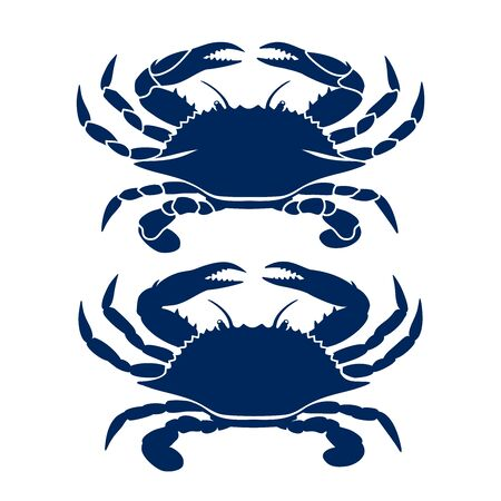 Blue crab on white background. Clean, modern vector   design, symbol or icon in simple flat style. Silhouette of crab. Vector illustration. Иллюстрация
