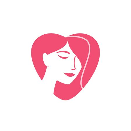 Woman face silhouette inside of a heart shape isolated on white background. Clean and modern   design for a hairstylist, hair and beauty salon, yoga studio, spa salon, cosmetic clinic, cosmetology, makeup service and so on. Vector illustration.