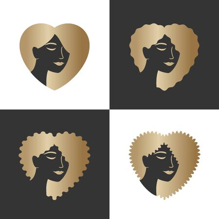Creative   for makeup, beauty, fashion and hairstyle related business. Beautiful woman's faces with loose straight, wavy, curly, kinky hair on a head into the shape of a heart. Vector illustration.